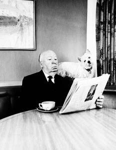 Alfred Hitchcock mit seinem Westie