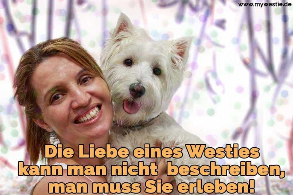 Eine glückliche Frau umarmt sie Westie